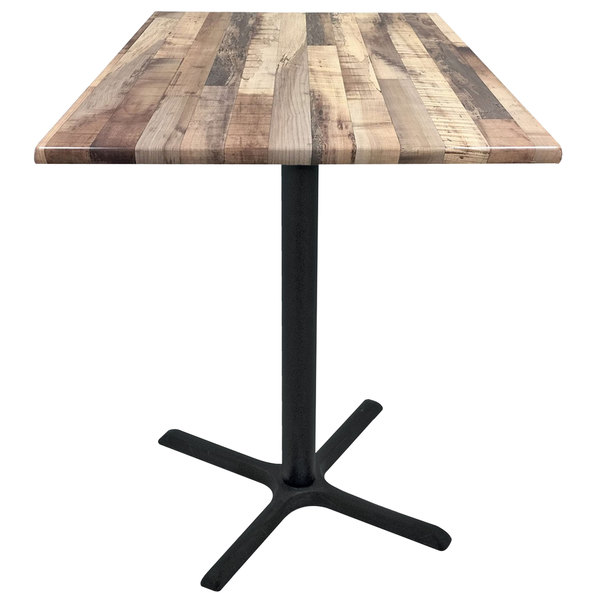 "Holland Bar Stool OD211-3042BWOD36SQRustic 36"" Square Rustic Wood Laminate Outdoor / Indoor Bar Height Table with Cross Base"