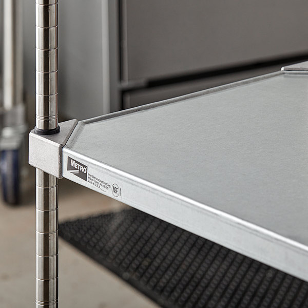 "Metro 1836FG 18"" x 36"" 18 Gauge Flat Galvanized Solid Shelf Main Image 4"