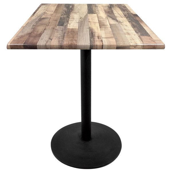 "Holland Bar Stool OD214-2230BWOD36SQRustic 36"" Square Rustic Wood Laminate Outdoor / Indoor Standard Height Table with Round Base"