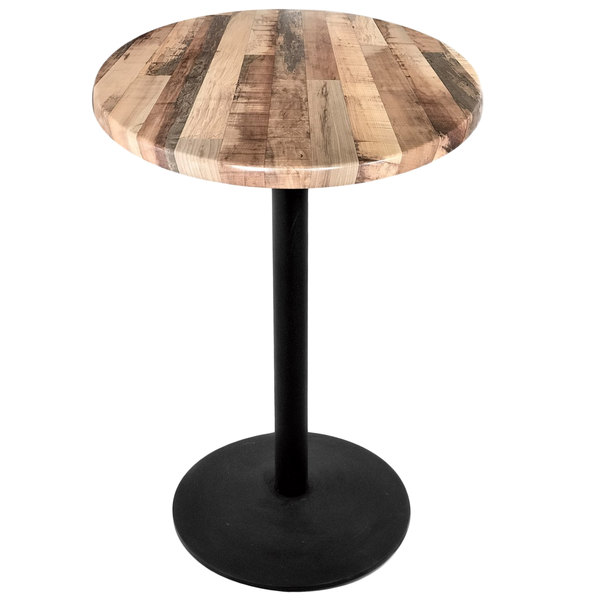 "Holland Bar Stool OD214-2230BWOD30RRustic 30"" Round Rustic Wood Laminate Outdoor / Indoor Standard Height Table with Round Base"