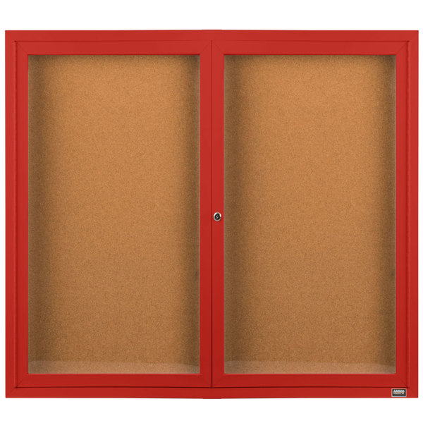 """Aarco DCC4860RR 48"""" x 60"""" Enclosed Hinged Locking 2 Door Powder Coated Red Finish Indoor Bulletin Board Cabinet"""