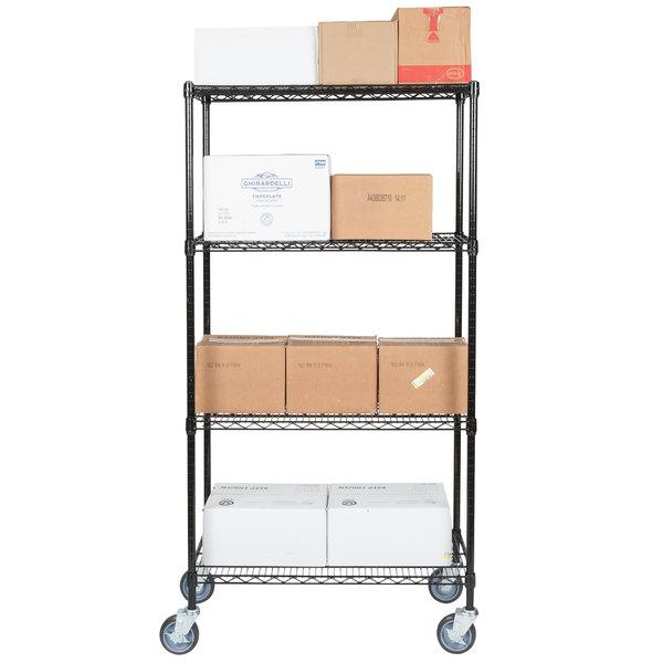"""Regency 18"""" x 36"""" NSF Black Epoxy Shelf Kit with 64"""" Posts and Casters"""