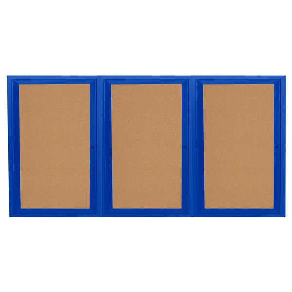 "Aarco DCC3672-3RB 36"" x 72"" Enclosed Hinged Locking 3 Door Powder Coated Blue Finish Indoor Bulletin Board Cabinet"