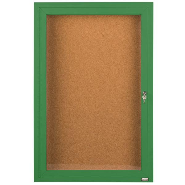 "Aarco DCC3624RG 36"" x 24"" Enclosed Hinged Locking 1 Door Powder Coated Green Finish Indoor Bulletin Board Cabinet"