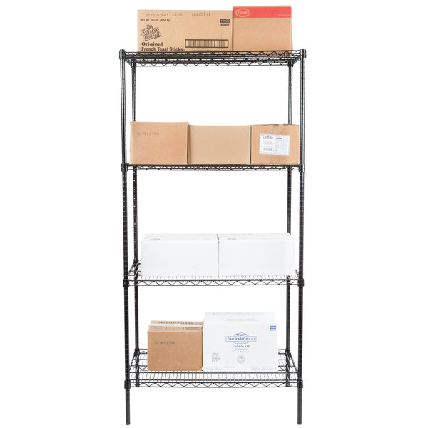 """Regency 24"""" x 36"""" NSF Black Epoxy 4-Shelf Kit with 74"""" Posts Main Image 3"""