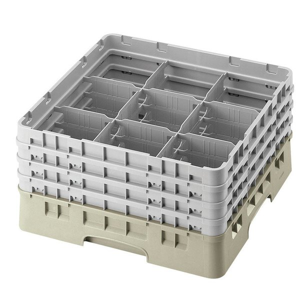 "Cambro 9S958184 Beige Camrack Customizable 9 Compartment 10 1/8"" Glass Rack"