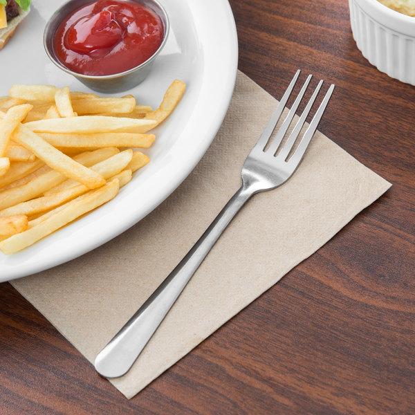 """Choice Windsor 7"""" 18/0 Stainless Steel Dinner Fork - 12/Case"""