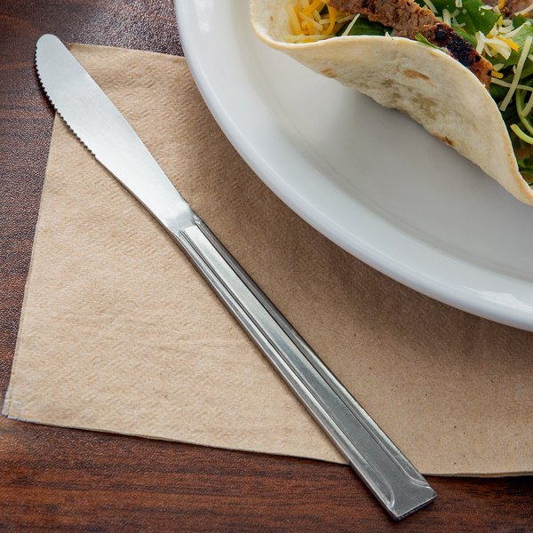 "Choice Dominion 8 3/8"" 18/0 Stainless Steel Medium Weight Dinner Knife - 12/Case"