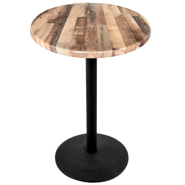 Indoor Counter Height Table With Round Base, Round Wood Bar Table