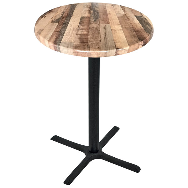 "Holland Bar Stool OD211-3042BWOD30RRustic 30"" Round Rustic Wood Laminate Outdoor / Indoor Bar Height Table with Cross Base Main Image 1"