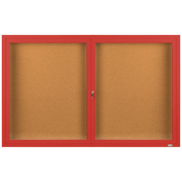 "Aarco DCC3660RR 36"" x 60"" Enclosed Hinged Locking 2 Door Powder Coated Red Finish Indoor Bulletin Board Cabinet"