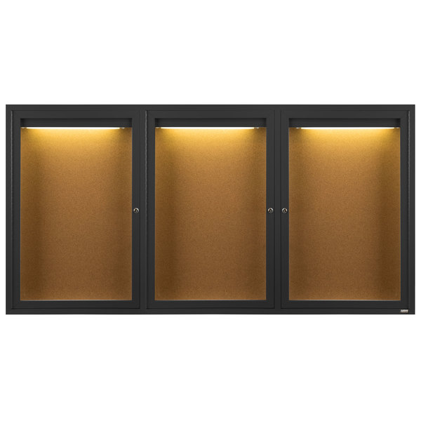 "Aarco DCC4896-3RIBK 48"" x 96"" Enclosed Hinged Locking 3 Door Powder Coated Black Finish Indoor Lighted Bulletin Board Cabinet"