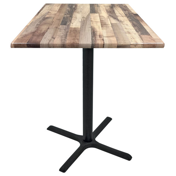 "Holland Bar Stool OD211-3036BWOD30SQRustic 30"" Square Rustic Wood Laminate Outdoor / Indoor Counter Height Table with Cross Base"