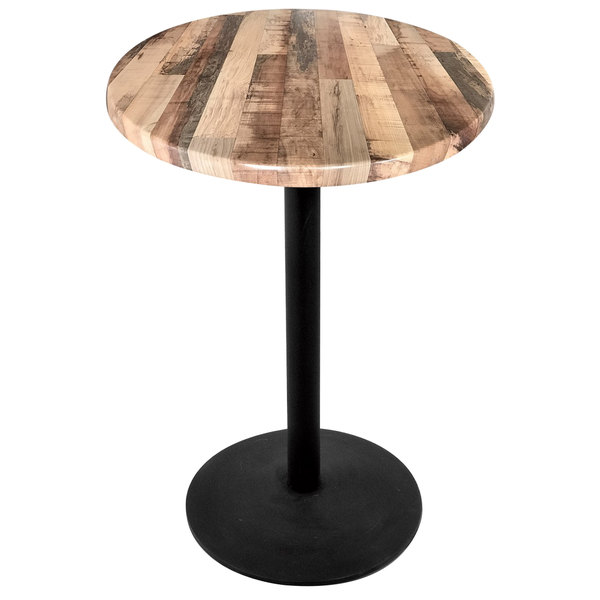 "Holland Bar Stool OD214-2230BWOD36RRustic 36"" Round Rustic Wood Laminate Outdoor / Indoor Standard Height Table with Round Base Main Image 1"