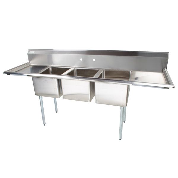 regency gauge stainless steel three compartment commercial sink drainboards two faucet 3 drain parts
