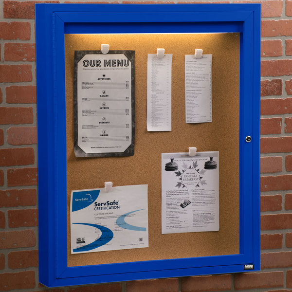 "Aarco DCC3630RIB 36"" x 30"" Enclosed Hinged Locking 1 Door Powder Coated Blue Finish Indoor Lighted Bulletin Board Cabinet"