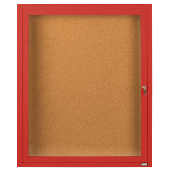 """Aarco DCC2418RR 24"""" x 18"""" Enclosed Hinged Locking 1 Door Powder Coated Red Finish Indoor Bulletin Board Cabinet"""