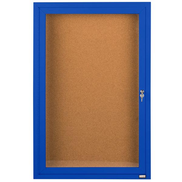 "Aarco DCC2412RB 24"" x 12"" Enclosed Hinged Locking 1 Door Powder Coated Blue Finish Indoor Bulletin Board Cabinet"