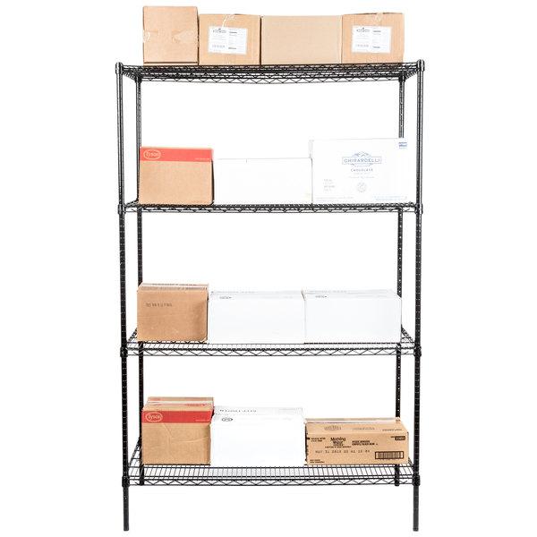 """Regency 24"""" x 48"""" NSF Black Epoxy Shelf Kit with 74"""" Posts"""