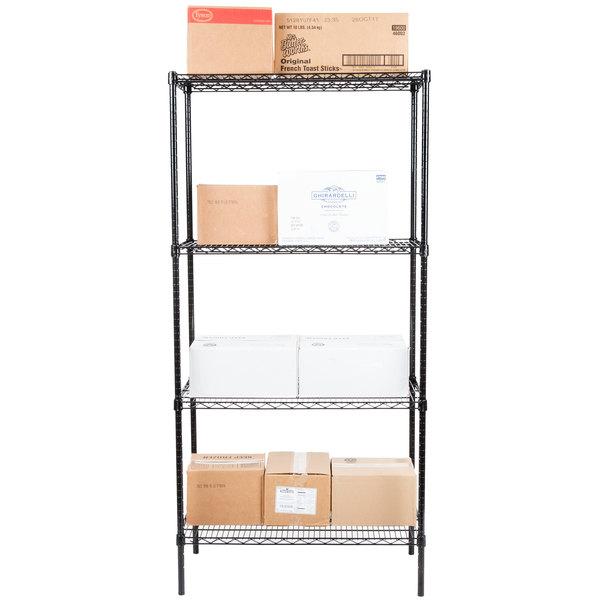 """Regency 18"""" x 36"""" NSF Black Epoxy 4-Shelf Kit with 74"""" Posts Main Image 3"""