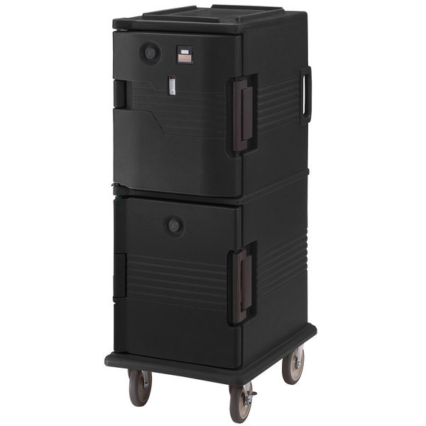 Cambro UPCHT800110 Ultra Camcart® Black Electric Hot Top / Passive Bottom Food Holding Cabinet in Fahrenheit - 110V