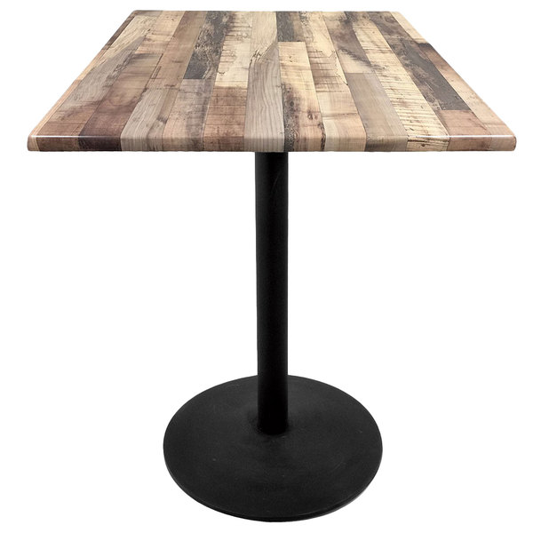 """Holland Bar Stool OD214-2242BWOD30SQRustic 30"""" Square Rustic Wood Laminate Outdoor / Indoor Bar Height Table with Round Base"""