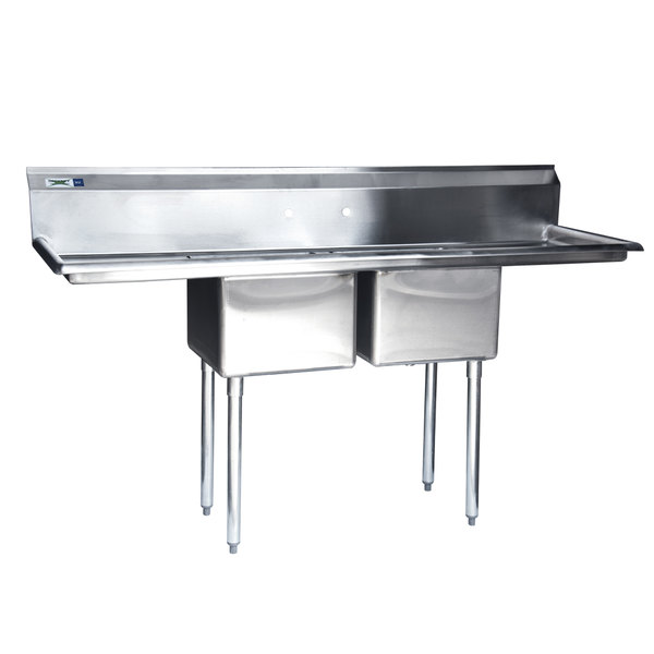 "Regency 72"" 16-Gauge Stainless Steel Two Compartment Commercial Sink with 2 Drainboards - 17"" x 17"" x 12"" Bowls"