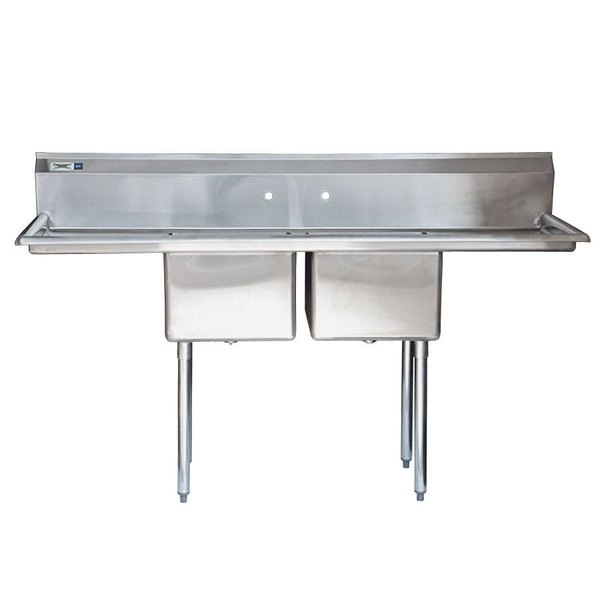 """Regency 72"""" 16-Gauge Stainless Steel Two Compartment Commercial Sink with 2 Drainboards - 17"""" x 17"""" x 12"""" Bowls"""
