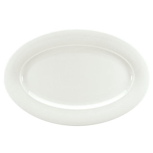 "Schonwald 9192034 Avanti Gusto 12 1/2"" x 9"" Continental White Porcelain Oval Platter - 6/Case"
