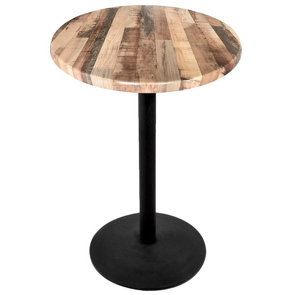 """Holland Bar Stool OD214-2242BWOD30RRustic 30"""" Round Rustic Wood Laminate Outdoor / Indoor Bar Height Table with Round Base"""
