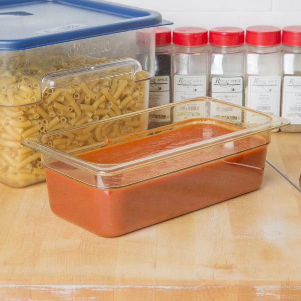 "Carlisle 3086113 StorPlus 1/3 Size Amber High Heat Plastic Food Pan - 4"" Deep Main Image 2"