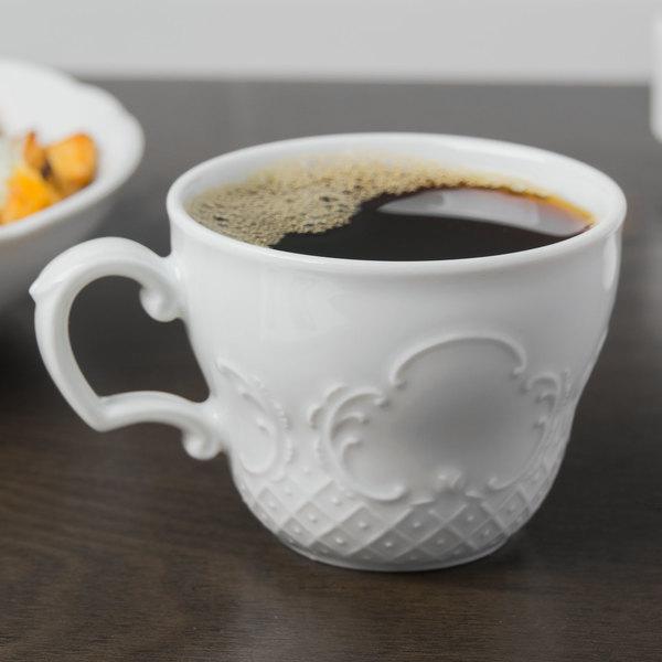 Schonwald 9065170 Marquis 6.75 oz. Continental White Porcelain Cup - 12/Case