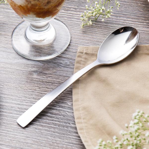"World Tableware 962 002 Oceanside 7 1/4"" 18/0 Stainless Steel Heavy Weight Dessert Spoon - 36/Case"