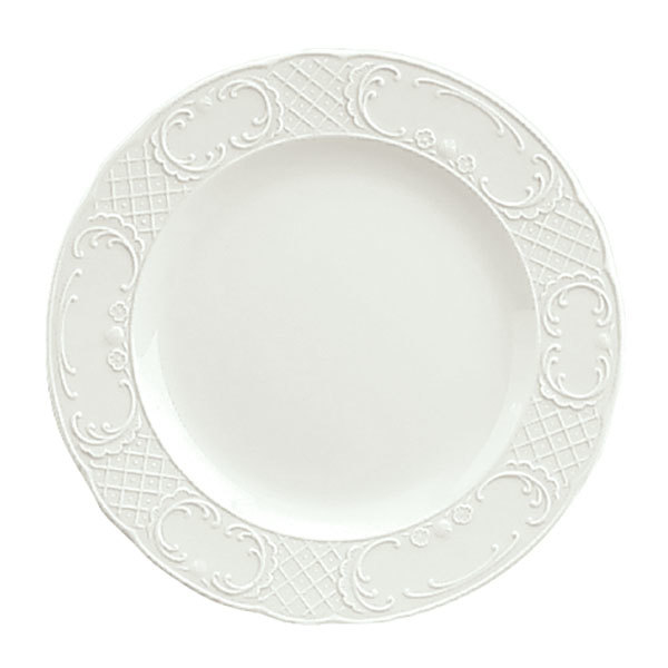 """Schonwald 9060016 Marquis 6 1/4"""" Continental White Porcelain Plate - 12/Case"""