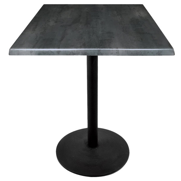 """Holland Bar Stool OD214-2236BWOD30SQBlkStl 30"""" Square Black Steel Laminate Outdoor / Indoor Counter Height Table with Round Base Main Image 1"""