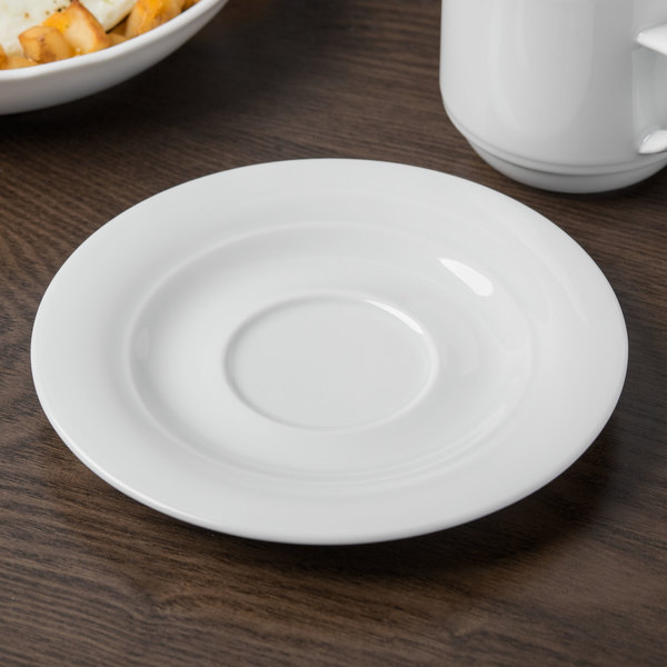 "Schonwald 9196918 Avanti Gusto 6 1/4"" Continental White Porcelain Saucer - 12/Case"