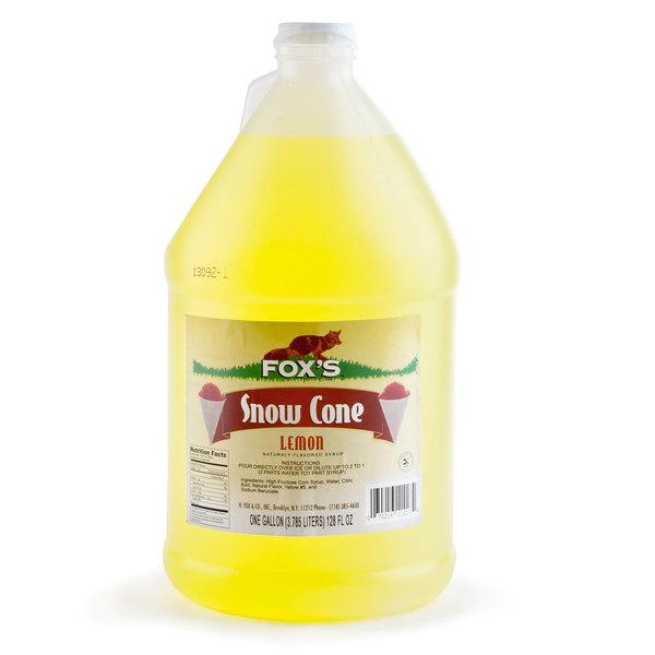 Fox's 1 Gallon Lemon Snow Cone Syrup - 4/Case