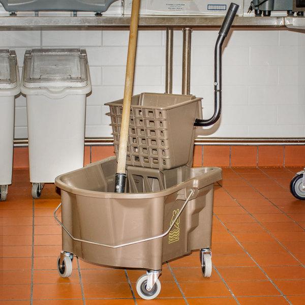 Continental 226-312BZ 26 Qt. Bronze Splash Guard Mop Bucket with Side-Press Wringer