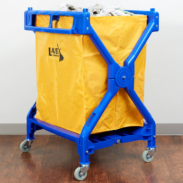 Lavex Laundry Cart / Trash Cart, 10 Bushel Commercial Folding Rolling Cart
