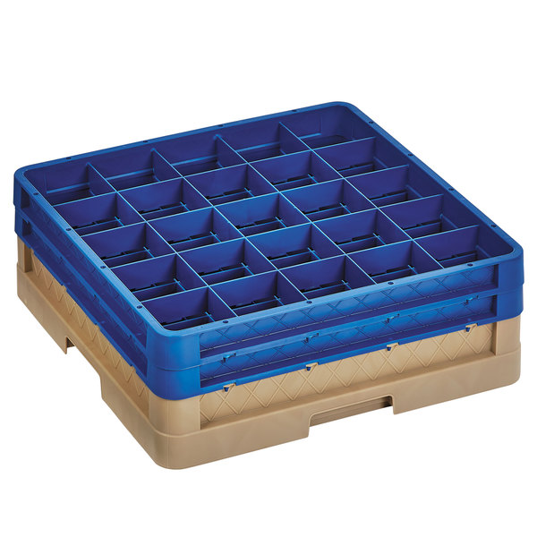 """Vollrath CR10FF-32844 Traex® 9 Compartment Beige Full-Size Closed Wall 6 3/8"""" Glass Rack with 2 Royal Blue Extenders Main Image 1"""