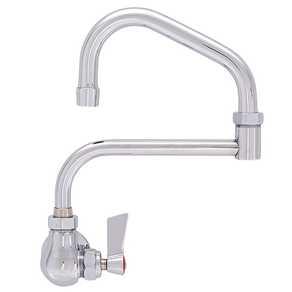 "Fisher 19968 Backsplash Mounted Faucet with 17"" Double-Jointed Swing Nozzle, 2.2 GPM Aerator, and Lever Handle"