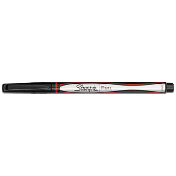 Sharpie 1742665 Red Ink with Gray / Red Barrel 0.5mm Water Resistant Plastic Point Stick Pen - 12/Pack
