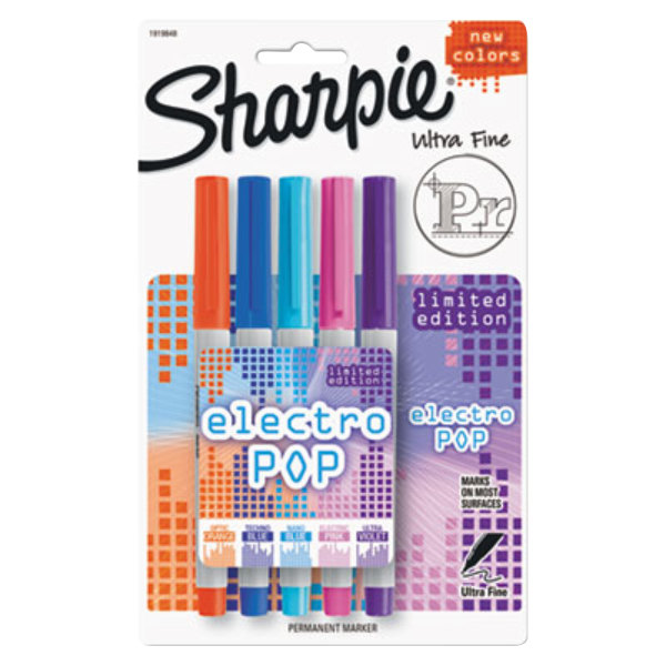 Sharpie 1919848 Electro Pop Assorted Colors Ultra-Fine Permanent Marker - 5/Pack Main Image 1