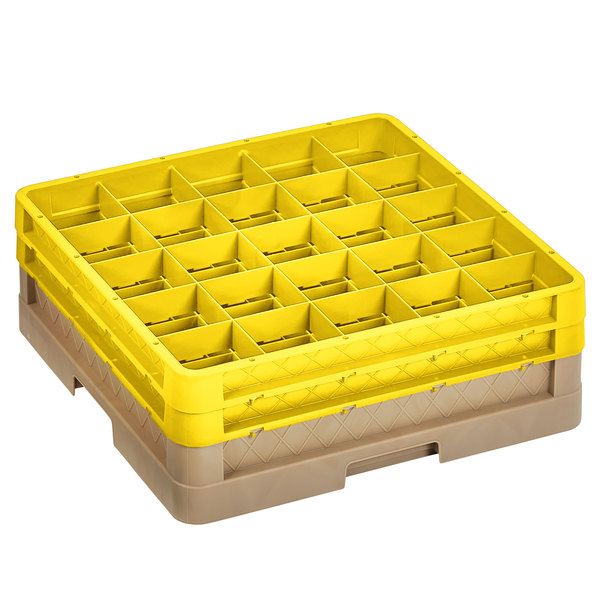 """Vollrath CR10FF-32808 Traex® 9 Compartment Beige Full-Size Closed Wall 6 3/8"""" Glass Rack with 2 Yellow Extenders Main Image 1"""