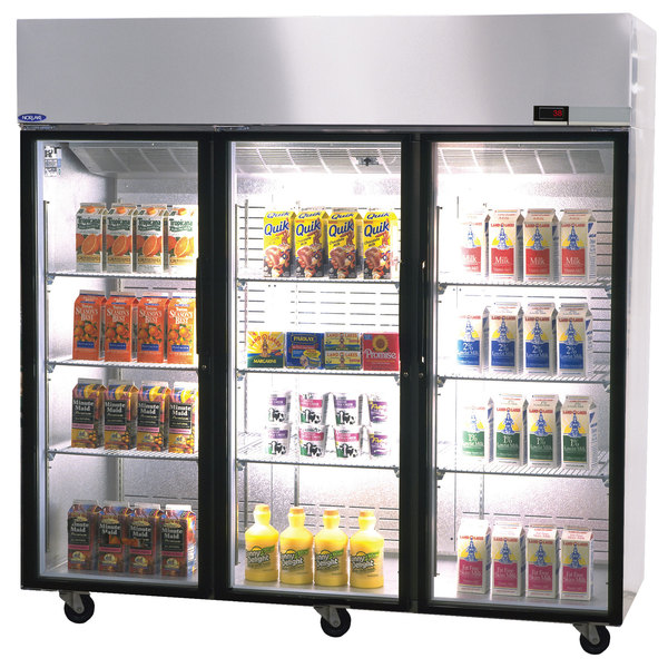 "Nor-Lake NR806SSG/0X Nova 82 1/2"" Glass Half Door Reach-In Refrigerator - 79.9 Cu. Ft."