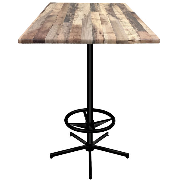 "Holland Bar Stool OD21642BWOD36SQRustic 36"" Square Rustic Wood Laminate Outdoor / Indoor Bar Height Table with Foot Rest Base Main Image 1"