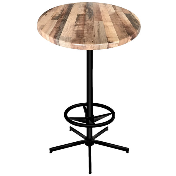 "Holland Bar Stool OD21642BWOD36RRustic 36"" Round Rustic Wood Laminate Outdoor / Indoor Bar Height Table with Foot Rest Base"