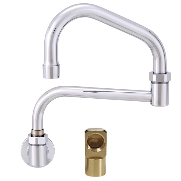 "Fisher 20966 Backsplash Mounted Faucet with 17"" Double-Jointed Swing Nozzle, 2.2 GPM Aerator, and Elbow"