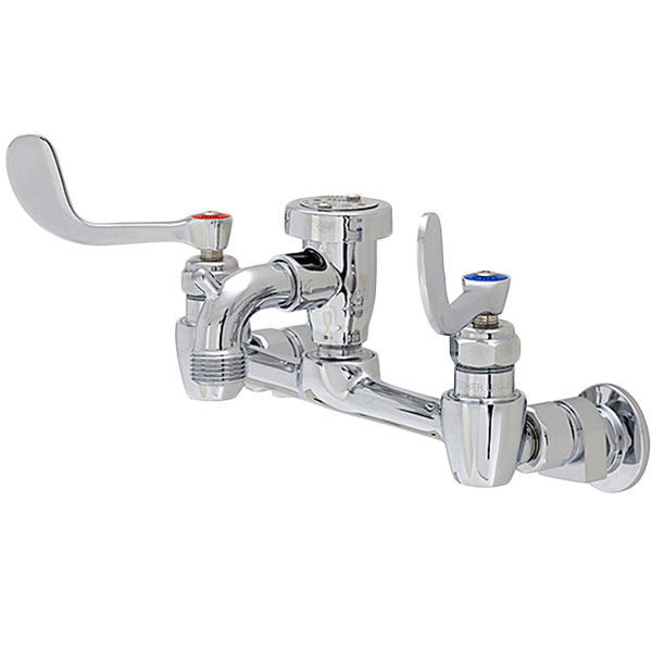 "Fisher 19836 Wall Mounted Service Sink Faucet with 8"" Centers, 3"" Service Sink Spout, Garden Hose Outlet, Wrist Handles, and EZ Install Adapters"