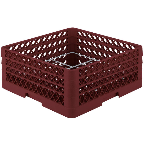 """Vollrath PM1211-3-21 Traex Plate Crate Burgundy 12 Compartment Plate Rack - Holds 5"""" to 7 5/8"""" Plates"""